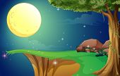foto of landforms  - Illustration of a bright fullmoon and the cliff - JPG