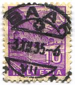 SWITZERLAND - CIRCA 1935: A stamp printed in Switzerland shows image of the The Chateau de Chillon i