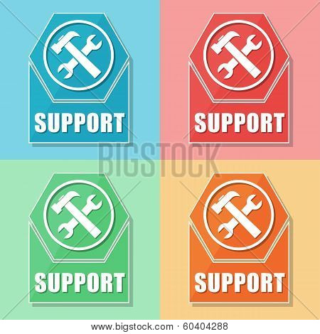 Support With Tools Sign, Four Colors Web Icons