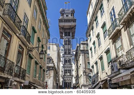 Lisbon, Portugal - April  14, 2013: Santa Justa elevator in the Baixa District. 19th cent. project by Raul Mesnier de Ponsard (Gustave Eiffel disciple).