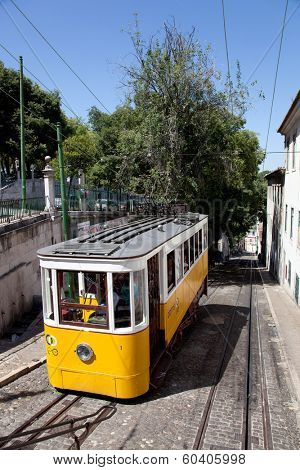 Lisbon, Portugal - May 26, 2013: Elevador da Gloria, the famous funicular connecting the Restauradores Square to the popular Bairro Alto District.