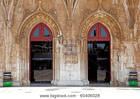Lisbon, Portugal, June 18, 2013: Maritime or Navy Museum (Museu de Marinha) in Belem, Lisbon Portugal - Integrated in the Jeronimos Monastery building (Unesco World Heritage)