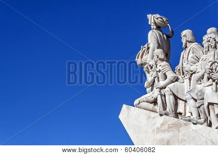 Lisbon, Portugal - June 30, 2013: Detail of the statues of Padrao dos Descobrimentos (Sea Discoveries Monument) with Prince Henry statue at the front. Belem District, Lisbon, Portugal