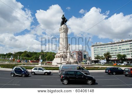 Lisbon, Portugal - May 12, 2013: Marques do Pombal Roundabout. This roundabout rates the highest number of car accidents in Portugal