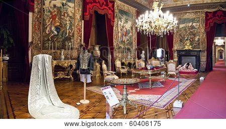 Lisbon, Portugal, June 10, 2013: Hall of Order (Sala do Despacho) in Ajuda National Palace, Lisbon, Portugal - 19th century neoclassical Royal palace.