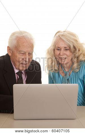Elderly Couple Business Computer Look Down