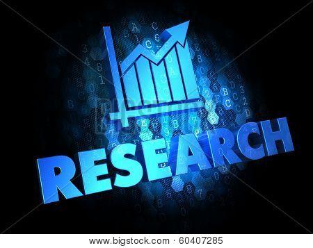 Research Concept on Dark Digital Background.