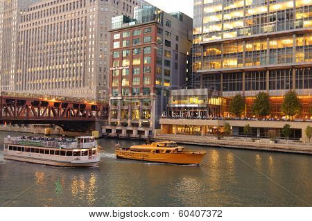 CHICAGO, IL - OCT 6: watertaxi boat at Chicago downtown on October 6, 2011 in Chicago, Illinois. Chicago is the third most populous city in the United States, after New York City and Los Angeles