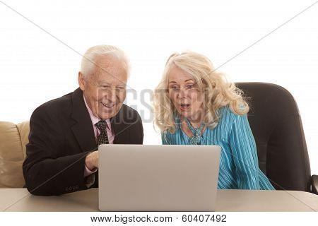 Elderly Couple Business She Looks Shocked
