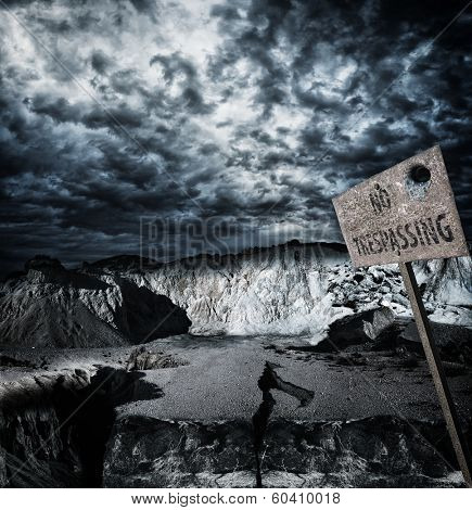 No trespassing zone - dramatic background