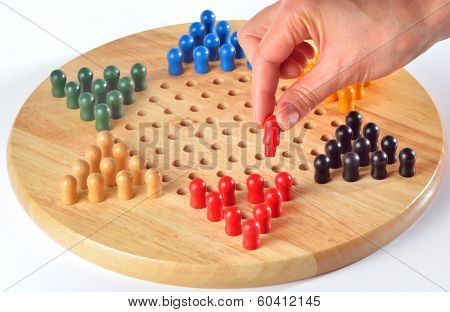 chinese checkers and wood board