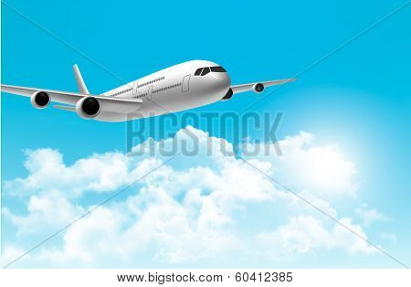 Travel background with an airplane on a blue sky. Vector.