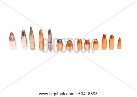 Different types of bullets, both pistol and rifle for hunting and target shooting