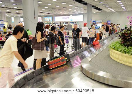 BANGKOK - OCT 25,2011: Bangkok Airport building. Suvarnabhumi Airport is one of two international airports serving Bangkok, Thailand.