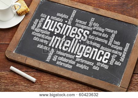business intelligence word cloud on a vintage blackboard with a cup of coffee