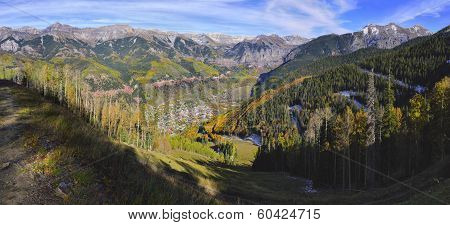 Colourful Mountains And Panoramic Vew Of Telluride, Colorado During Foliage Season
