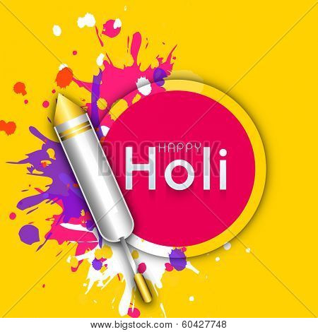 Indian festival Happy Holi celebrations concept with colour gun on splash background.