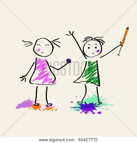 Indian festival Holi concept with cute kids doodle playing colours on abstract background.