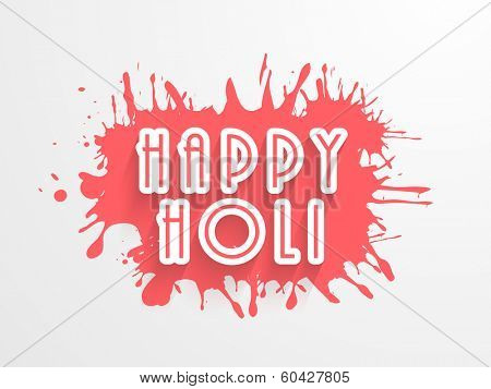 Stylish text Happy Holi in pink colours splash background, concept for Indian colours festival Happy Holi.
