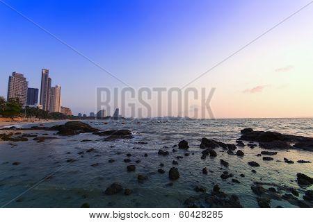 Stones, Sea And Pattaya Beach.
