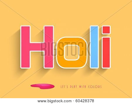 Beautiful colourful text Holi on yellow background, concept for Indian colour festival Happy Holi.