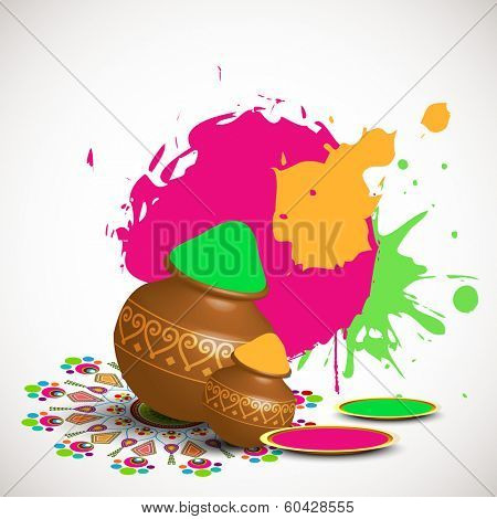 Indian festival Happy Holi celebrations concept with beautiful floral decorated traditional mud pots full of dry colours on splash background.
