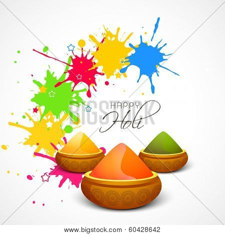 Indian festival Happy Holi celebrations concept with shiny colours on splash background.