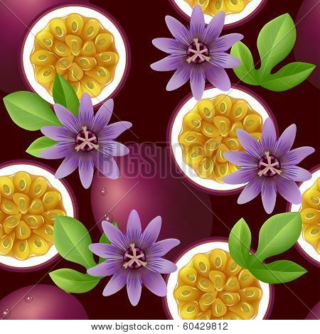 Fruity pattern with passion fruit and flowers