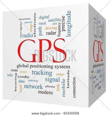 Gps 3D Cube Word Cloud Concept