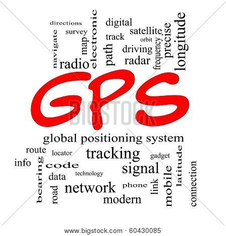 Gps Word Cloud Concept In Red Caps
