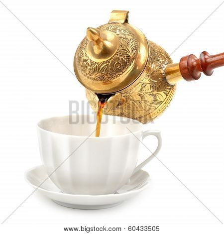 Cup And  Pot For Coffee Isolated On White Background