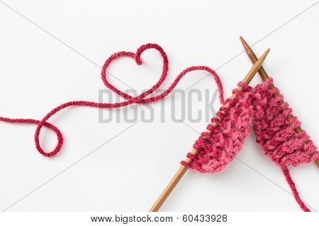 Incomplete knitting project with wooden needles