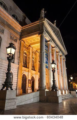Dona Maria II National Theatre in Rossio Square, the main square of Lisbon, Portugal.