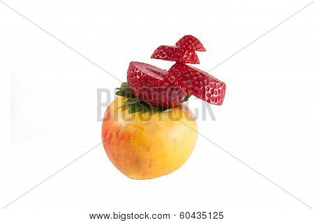 Appel With Strawberry Hat