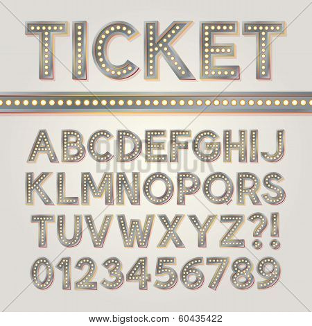 Silver Bright Broadway Alphabet And Numbers, Eps 10 Vector Editable