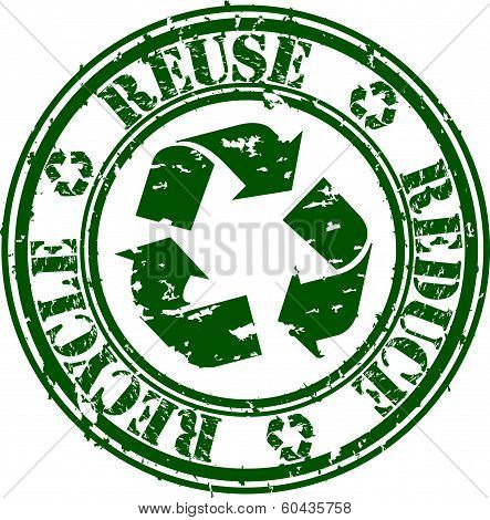 Grunge reduce, reuse and recycle rubber stamp, vector illustration