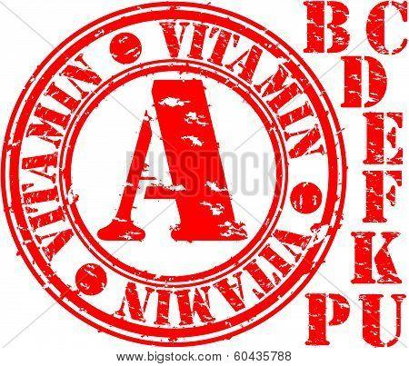 Grunge vitamin set rubber stamp, vector illustration