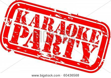Karaoke party grunge rubber stamp, vector illustration