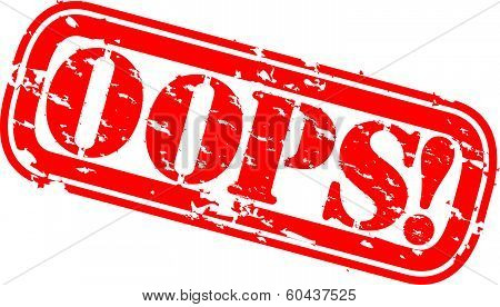 Grunge oops rubber stamp, vector illustration
