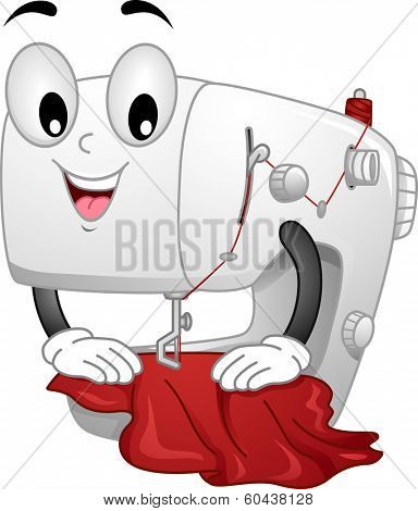 Mascot Illustration Featuring a Sewing Machine Sewing a Piece of Cloth