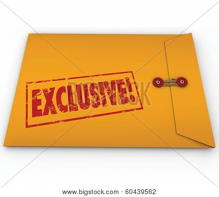 Exclusive word stamped on a yellow confidential classified envelope to symbolize information or content that requires special permission to see, open and read