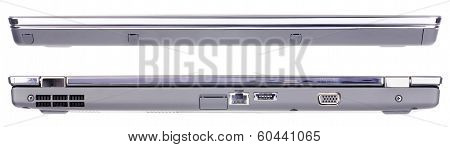 Laptop Isolated Front And Rear View