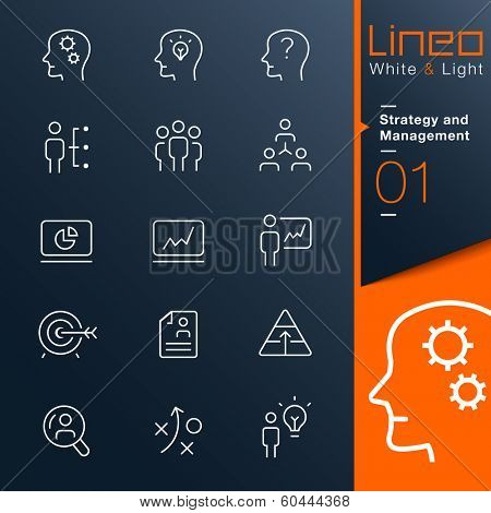Lineo White & Light - Strategy and Management outline icons