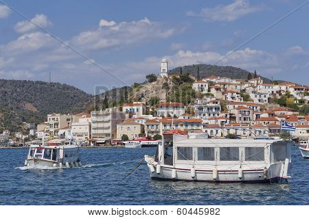 boats and Poros island port Greece