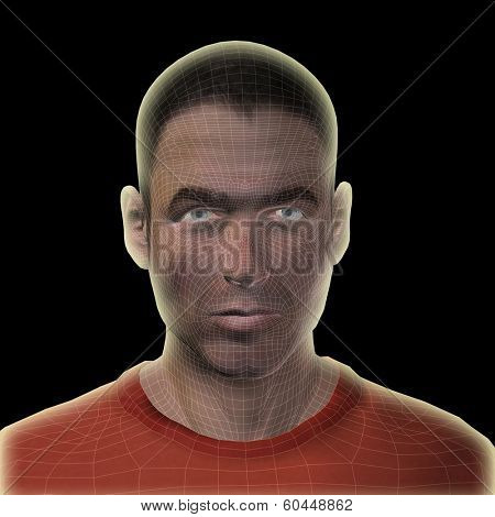 High resolution concept or conceptual 3D wireframe human male head isolated on black background