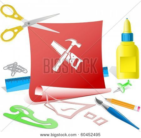 Hand saw and hammer. Paper template. Raster illustration.