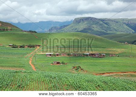 Rural settlement on foothills of the Drakensberg mountains, KwaZulu-Natal, South Africa