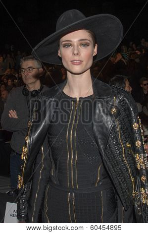 NEW YORK-FEB 8: Model Coco Rocha attends the Herve Leger by Max Azria fashion show during Mercedes-Benz Fashion Week Fall 2014 at Lincoln Center on February 8, 2014 in New York City.