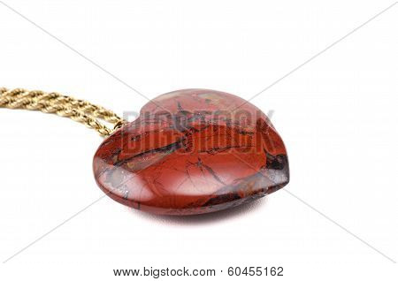 Breciated Jasper Heart With Golden Chain
