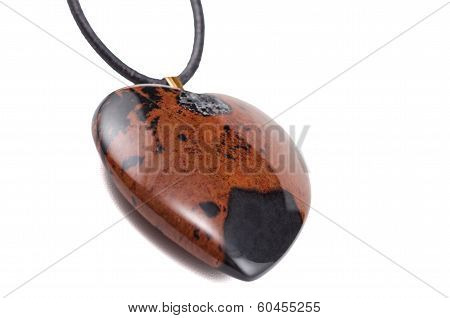 Mahogany Obsidian Heart With Leather String